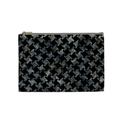 Houndstooth2 Black Marble & Gray Stone Cosmetic Bag (medium)