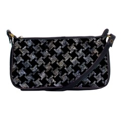 Houndstooth2 Black Marble & Gray Stone Shoulder Clutch Bags