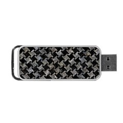 Houndstooth2 Black Marble & Gray Stone Portable Usb Flash (one Side)