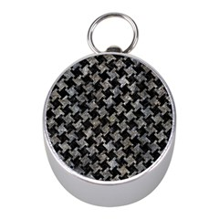 Houndstooth2 Black Marble & Gray Stone Mini Silver Compasses