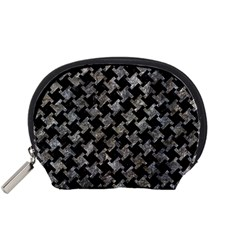 Houndstooth2 Black Marble & Gray Stone Accessory Pouches (small)