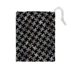 Houndstooth2 Black Marble & Gray Stone Drawstring Pouches (large)