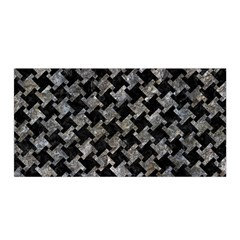 Houndstooth2 Black Marble & Gray Stone Satin Wrap