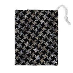 Houndstooth2 Black Marble & Gray Stone Drawstring Pouches (extra Large)