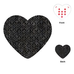 Hexagon1 Black Marble & Gray Stone Playing Cards (heart)