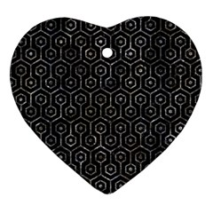 Hexagon1 Black Marble & Gray Stone Heart Ornament (two Sides)