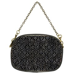 Hexagon1 Black Marble & Gray Stone Chain Purses (two Sides)