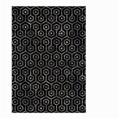Hexagon1 Black Marble & Gray Stone Small Garden Flag (two Sides)