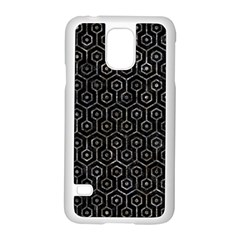 Hexagon1 Black Marble & Gray Stone Samsung Galaxy S5 Case (white)