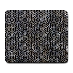 Hexagon1 Black Marble & Gray Stone (r) Large Mousepads
