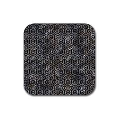 Hexagon1 Black Marble & Gray Stone (r) Rubber Coaster (square)