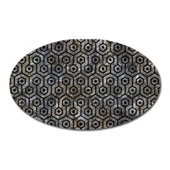 Hexagon1 Black Marble & Gray Stone (r) Oval Magnet