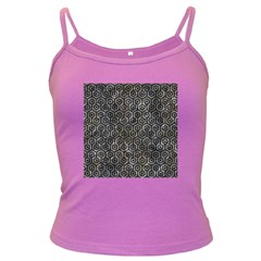 Hexagon1 Black Marble & Gray Stone (r) Dark Spaghetti Tank