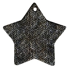 Hexagon1 Black Marble & Gray Stone (r) Star Ornament (two Sides)