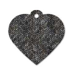 Hexagon1 Black Marble & Gray Stone (r) Dog Tag Heart (two Sides)