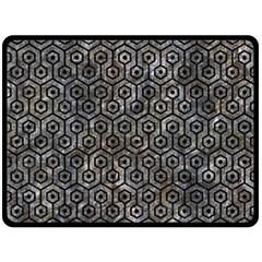 Hexagon1 Black Marble & Gray Stone (r) Fleece Blanket (large)