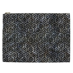 Hexagon1 Black Marble & Gray Stone (r) Cosmetic Bag (xxl)