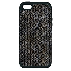 Hexagon1 Black Marble & Gray Stone (r) Apple Iphone 5 Hardshell Case (pc+silicone)