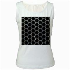 Hexagon2 Black Marble & Gray Stone Women s White Tank Top