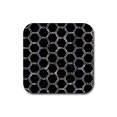 Hexagon2 Black Marble & Gray Stone Rubber Coaster (square)