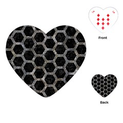 Hexagon2 Black Marble & Gray Stone Playing Cards (heart)