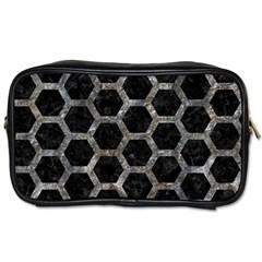 Hexagon2 Black Marble & Gray Stone Toiletries Bags 2 Side