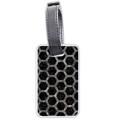 Hexagon2 Black Marble & Gray Stone Luggage Tags (one Side)