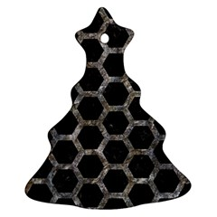 Hexagon2 Black Marble & Gray Stone Christmas Tree Ornament (two Sides)