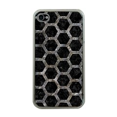Hexagon2 Black Marble & Gray Stone Apple Iphone 4 Case (clear)