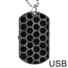 Hexagon2 Black Marble & Gray Stone Dog Tag Usb Flash (two Sides)