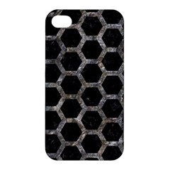 Hexagon2 Black Marble & Gray Stone Apple Iphone 4/4s Premium Hardshell Case