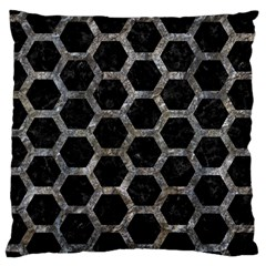 Hexagon2 Black Marble & Gray Stone Large Cushion Case (two Sides)