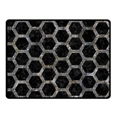 Hexagon2 Black Marble & Gray Stone Double Sided Fleece Blanket (small)