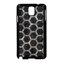Hexagon2 Black Marble & Gray Stone Samsung Galaxy Note 3 Neo Hardshell Case (black)
