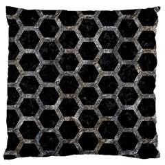 Hexagon2 Black Marble & Gray Stone Standard Flano Cushion Case (two Sides)