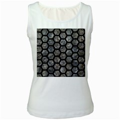 Hexagon2 Black Marble & Gray Stone (r) Women s White Tank Top