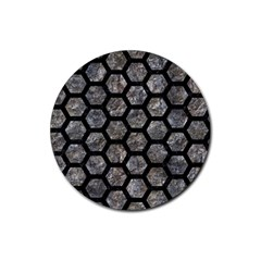 Hexagon2 Black Marble & Gray Stone (r) Rubber Round Coaster (4 Pack)