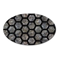Hexagon2 Black Marble & Gray Stone (r) Oval Magnet