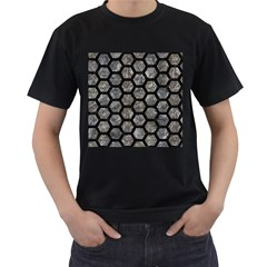 Hexagon2 Black Marble & Gray Stone (r) Men s T Shirt (black) (two Sided)