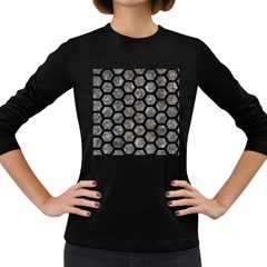 Hexagon2 Black Marble & Gray Stone (r) Women s Long Sleeve Dark T Shirts