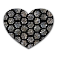 Hexagon2 Black Marble & Gray Stone (r) Heart Mousepads