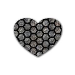 Hexagon2 Black Marble & Gray Stone (r) Heart Coaster (4 Pack)