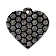 Hexagon2 Black Marble & Gray Stone (r) Dog Tag Heart (one Side)