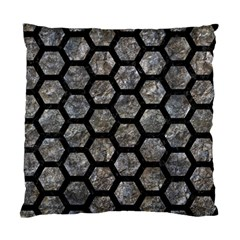Hexagon2 Black Marble & Gray Stone (r) Standard Cushion Case (two Sides)