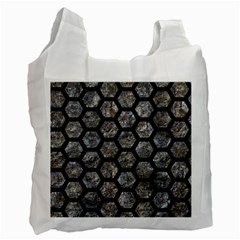 Hexagon2 Black Marble & Gray Stone (r) Recycle Bag (two Side)