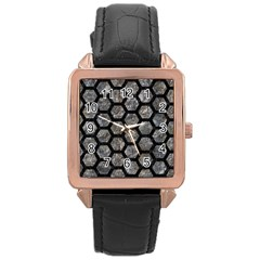 Hexagon2 Black Marble & Gray Stone (r) Rose Gold Leather Watch