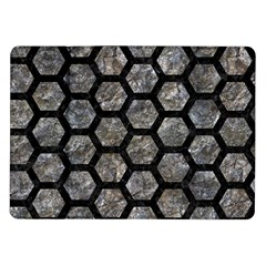 Hexagon2 Black Marble & Gray Stone (r) Samsung Galaxy Tab 10 1  P7500 Flip Case