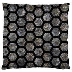 Hexagon2 Black Marble & Gray Stone (r) Large Flano Cushion Case (two Sides)
