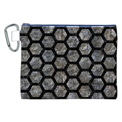 Hexagon2 Black Marble & Gray Stone (r) Canvas Cosmetic Bag (xxl)