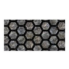 Hexagon2 Black Marble & Gray Stone (r) Satin Wrap
